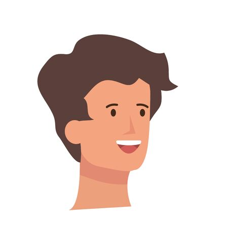 happy young man head character vector illustration design