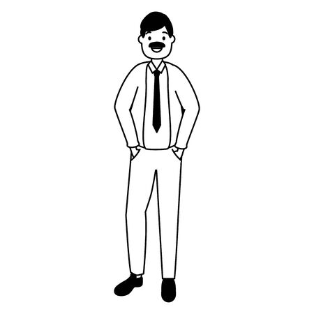 businessman character avatar on white background vector illustration