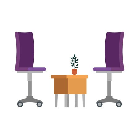 office chair with wooden table vector illustration design 写真素材 - 128830281