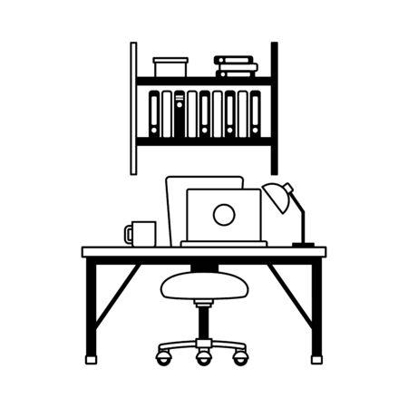 office workplace furniture desk bookshelf vector illustration Vetores