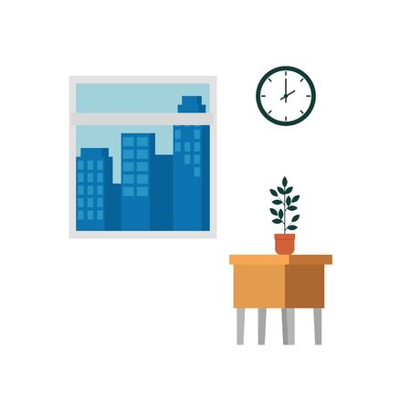 table wooden with houseplant and window vector illustration design