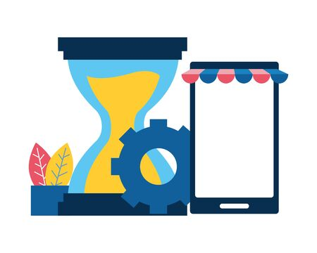 mobile hourglass gear online shopping vector illustration Ilustracja