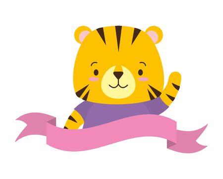 cute tiger animal cartoon sticker vector illustration design