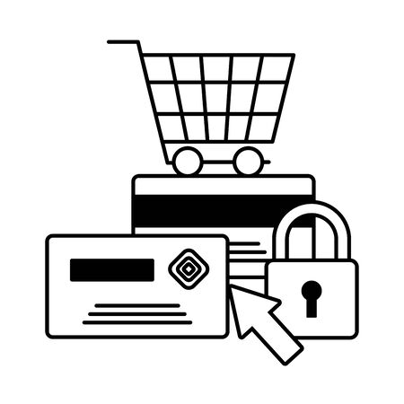 shopping cart online payment bank card security vector illustration