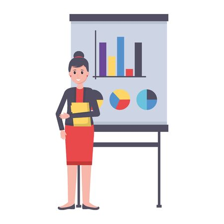 woman with board presentation office workplace vector illustration