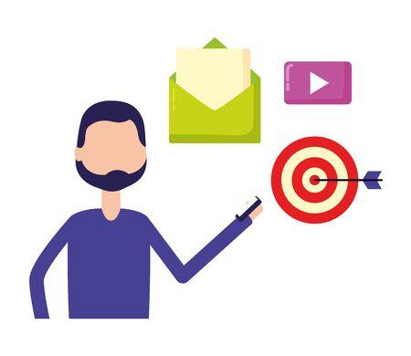 man email target video social media digital vector illustration