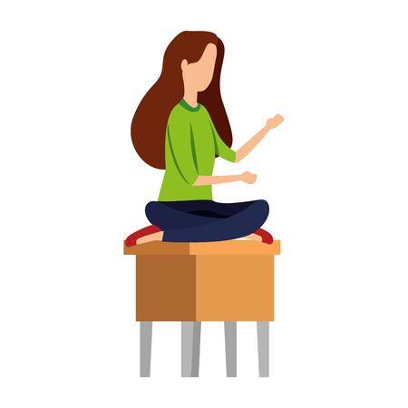 businesswoman seated in bench with lotus positionvector illustration design