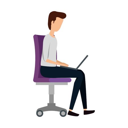 elegant businessman using laptop seated in office chair vector illustration design Ilustrace