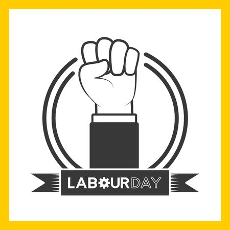 happy labour day hand raised label vector illustration Ilustrace