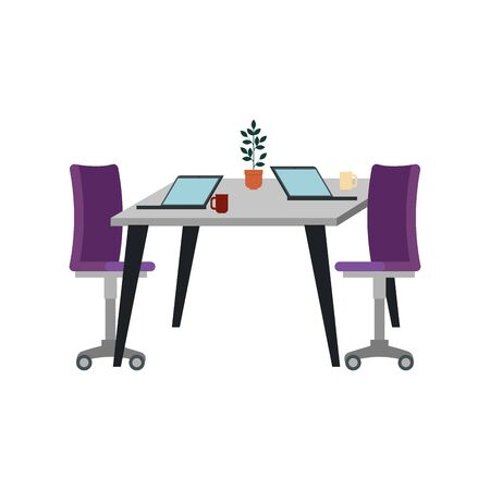 office chair with desk and laptop vector illustration design 写真素材 - 128831529