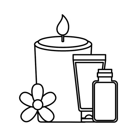 skin care bottle candle flowers spa treatment therapy vector illustration