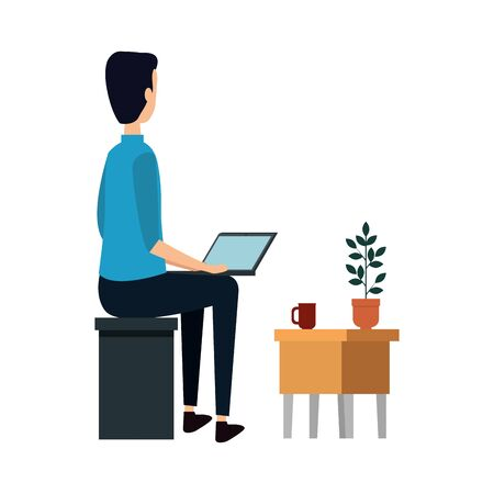 businessman using laptop with drawer vector illustration design