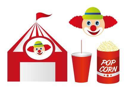 cute circus with pop corn and clown isolated over white background. vector Ilustração