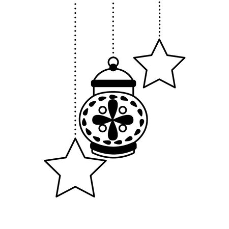 hanging lantern stars decoration on white background vector illustration