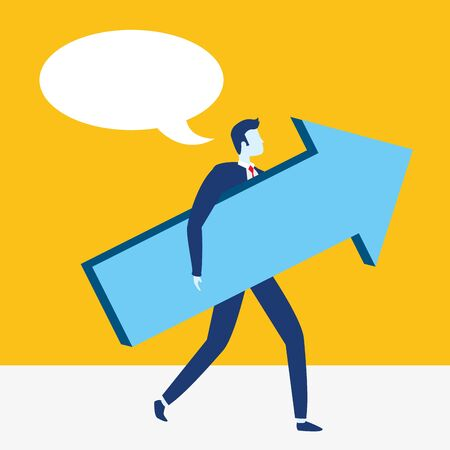 businessman arrow growth business success vector illustration