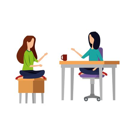 businesswomen seated in lotus position and coffee cup vector illustration design Ilustração