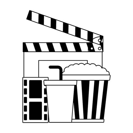 clapboard pop corn soda film cinema design vector illustration Çizim