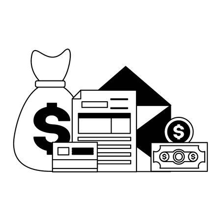 money bag bank card form tax time payment vector illustration Çizim