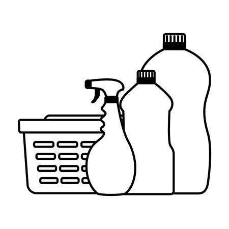 Panier à linge bouteilles outils de nettoyage de printemps vector illustration