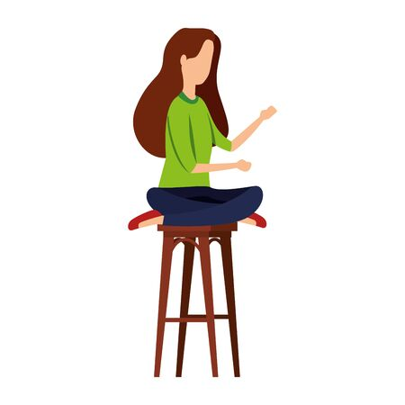 businesswoman seated in bench with lotus position vector illustration design Ilustração
