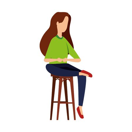 elegant businesswoman seated in bench vector illustration design