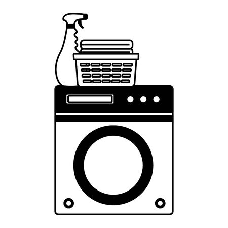 washing machine laundry spring cleaning tools vector illustration 일러스트