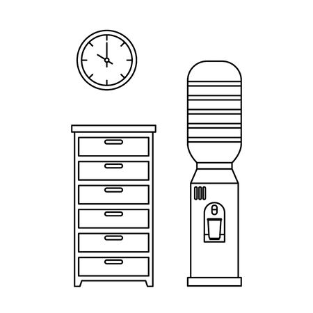 office water dispenser with drawer scene vector illustration design Ilustração