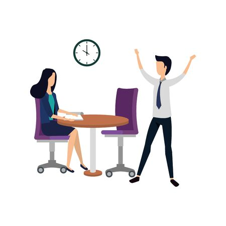 elegant business couple working in the office with watch vector illustration design Illustration