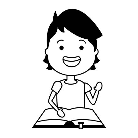 young man with open book icon vector illustration design Stock Illustratie