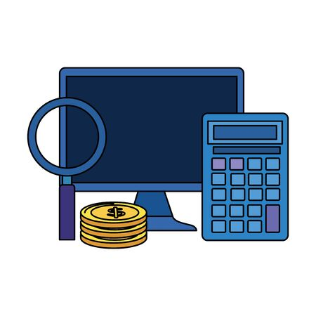 coins money dollars with desktop and calculator vector illustration design  イラスト・ベクター素材