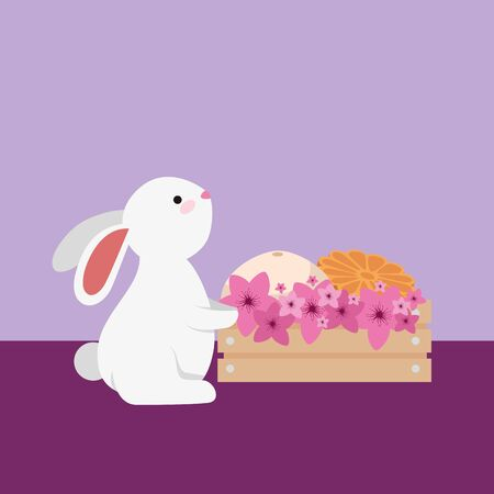 cute and little rabbit with melons in wooden box vector illustration design