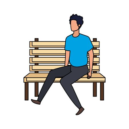 young and casual man seated in park chair character vector illustration design