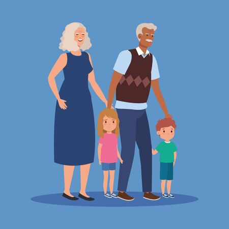 grandmother and grandfather with girls and boys kids over blue background, vector illustration