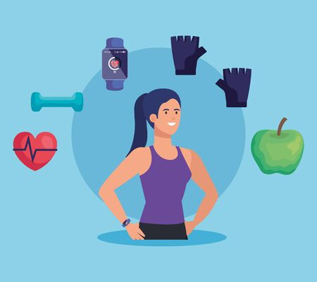fitness woman with healthy lifestyle activity over blue background, vector illustration