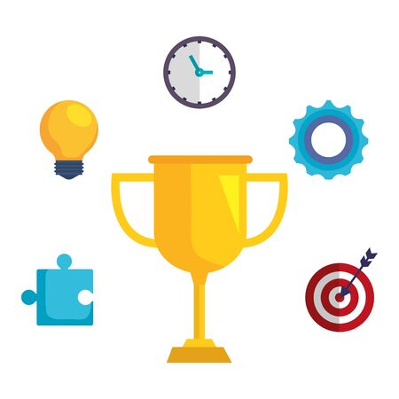 trophy cup award with business icons vector illustration design