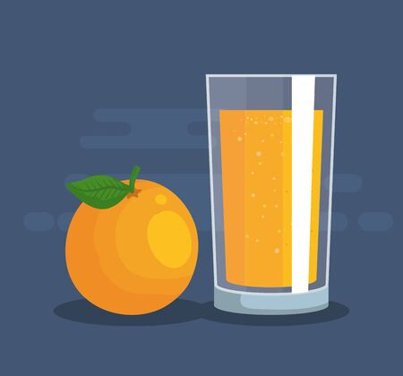 fresh orange fruit and juice nutrition to healthy food vector illustration Banque d'images - 128847792