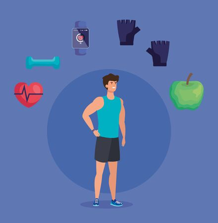 fitness man with healthy lifestyle balance over purple background, vector illustration Illustration