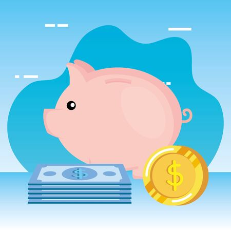 piggy savings with coins and bills money vector illustration design Banque d'images - 128849921