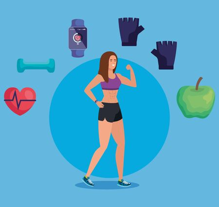 healthy woman with fitness exercise activity over blue background, vector illustration