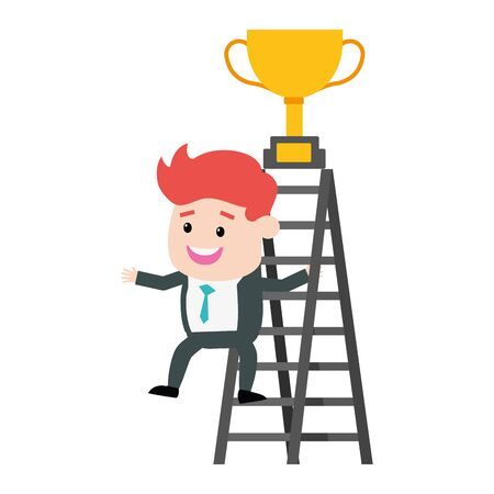 businessman climb ladder trophy on top vector illustration Çizim