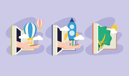 Journée mondiale du livre manuels de la littérature connaissances vector illustration