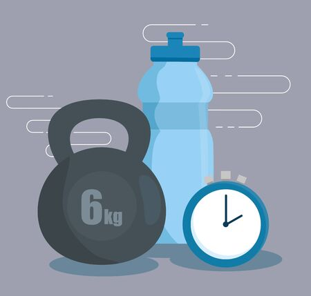 water bottle with dumbbell and clock to exercise over gray background, vector illustration Illustration
