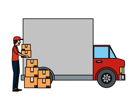 worker of delivery service with truck and boxes vector illustration design Illustration
