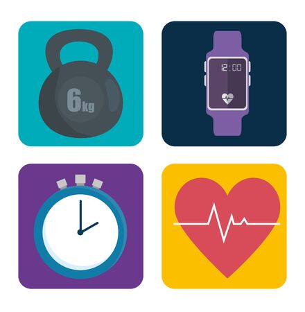 set of sport exercise icons to healthy lifestyle over white background, vector illustration