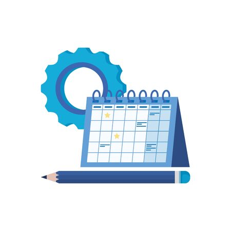 gear machine settings with calendar vector illustration design