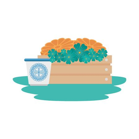 traditional chinese tea cup with flowers in wooden box vector illustration design  イラスト・ベクター素材