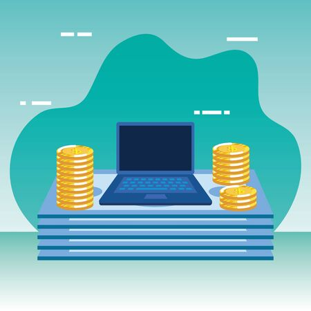 coins and bills money dollars with laptop vector illustration design