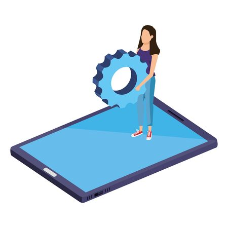 young woman lifting gear in smartphone vector illustration design Çizim