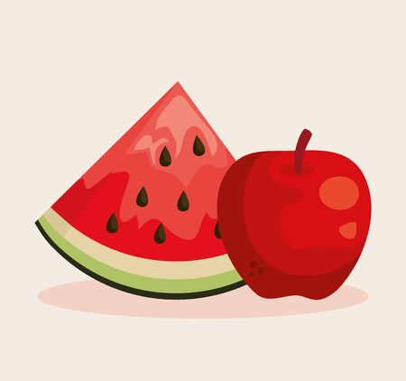 fresh watermelon and apple fruits nutrition to healthy food vector illustration