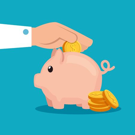 hand with coin cash money and piggy over blue background, vector illustration